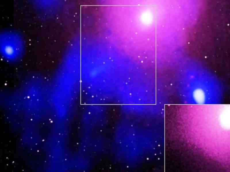 Image showing what scientists have observed as the biggest explosion in the universe, occurring in the Ophiuchus galaxy cluster. Photograph: International Centre For Radio Astronomy Research/Nasa/PA